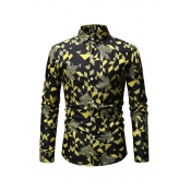 Lovely Casual Printed Yellow Cotton Shirts