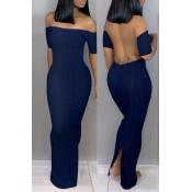 Lovely Trendy Backless Dark Blue Ankle Length Dres