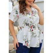 Lovely Casual Floral Printed White Blouses