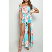 Lovely Bohemian Floral Printed Light Blue One-piece Rompers
