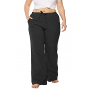 Lovely Casual Loose Black Cotton Blends Pants