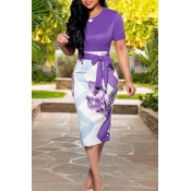Lovely Work Lace-up Purple Knee Length Dress