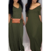 Lovely Casual Pockets Design Green Blending Floor Length Dress