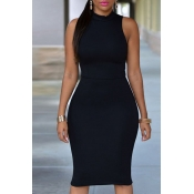 Lovely Work Tank Sleeveless Black Knee Length Dres