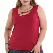 Lovely Casual Sleeveless Wine Red T-shirt
