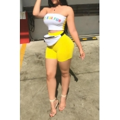 Lovely Casual Letters Printed Yellow Two-piece Shorts Set