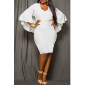 Lovely Work Cloak Design Plus Size  White  Knee Length Dress