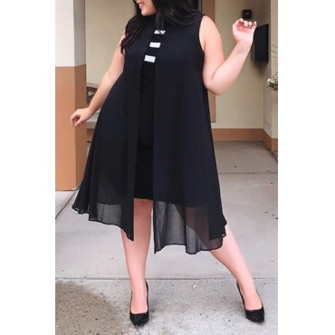 Lovely Casual Patchwork Black Chiffon  Knee Length Dress