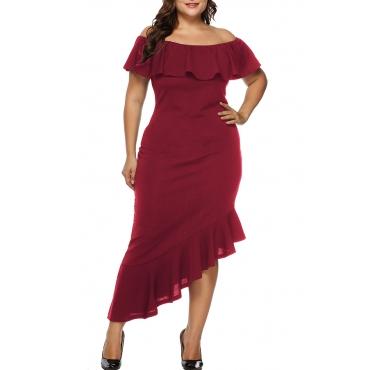 Lovely Trendy Patchwork Purplish Red Ankle Length Dress
