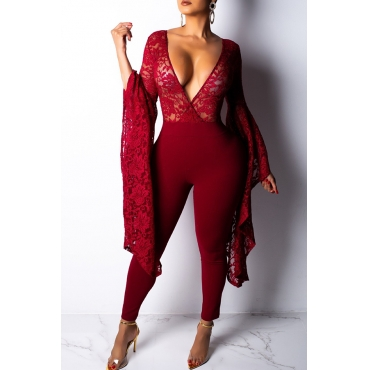 Lovely Sexy  Patchwork Skinny Wine Red One-piece Jumpsuit