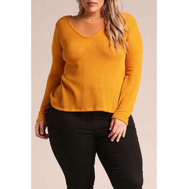 Lovely Casual Long Sleeves Loose Yellow T-shirt