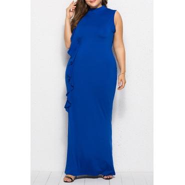 Lovely Casual Patchwork Royal Blue Floor Length Dress