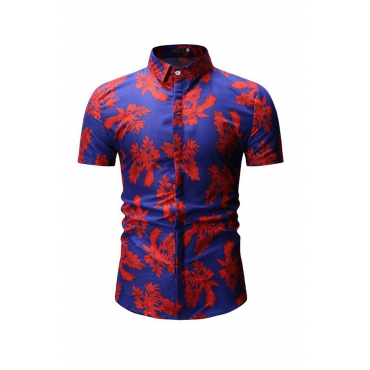 Lovely Trendy Floral Printed Blue Cotton Shirts