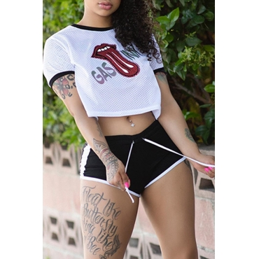 Lovely Casual Printed Shorts White Two-piece Shorts  Set