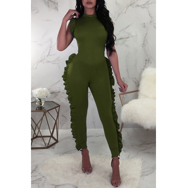 Lovely Sweet Flounce Design Army Green One-piece Jumpsuit
