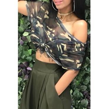 Lovely Casual Short Camouflage Blending T-shirt