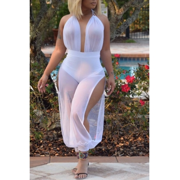 Lovely Sexy Patchwork White Gauze One-piece Jumpsuit (Without Bra)