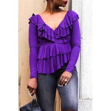 Lovely Casual  Flounce Design Purple Blouses
