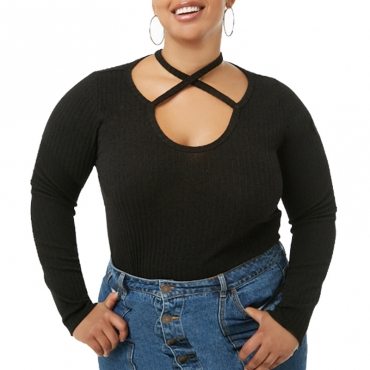 Lovely Casual Hollowed-out Black T-shirt