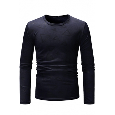 Lovely Casual Geometric Printed Navy Blue Blending T-shirt