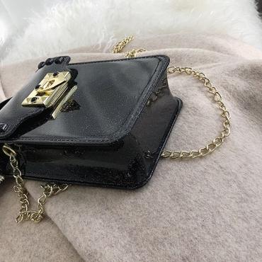Lovely Casual Sheer Black PVC Crossbody Bag