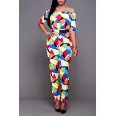 Lovely Casual Color-lump Patchwork Multicolor One-piece Jumpsuit