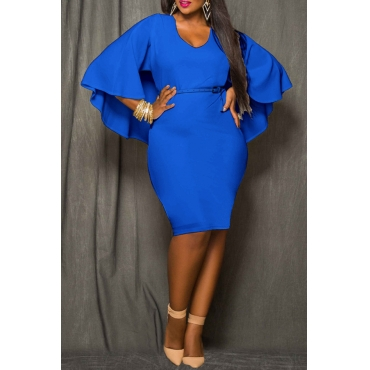Lovely Work Cloak Design Plus Size  Blue  Knee Length Dress