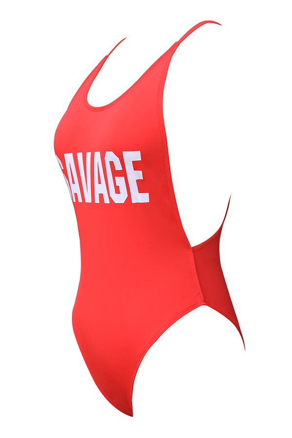 Lovely Casual Letters Printed Red One-piece Swimwear