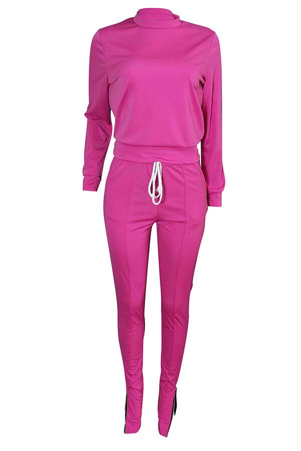 Lovely Euramerican Zipper Design Pink Blending Two-piece Pants Set