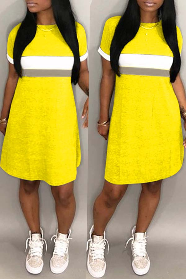 lovelywholesale / Lovely Casual Patchwork Yellow Knee Length Dress