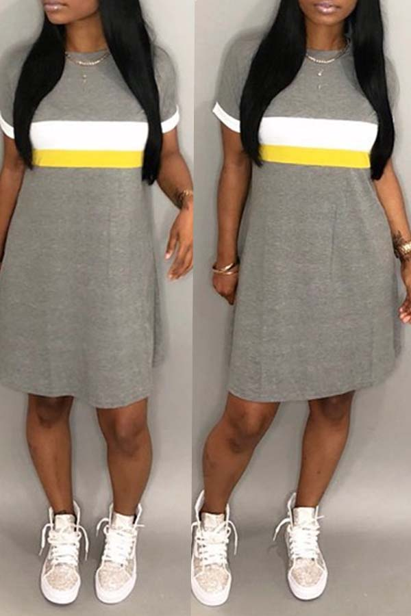 lovelywholesale / Cheap Dresses Lovely Casual Patchwork Light Grey Knee Length Dress
