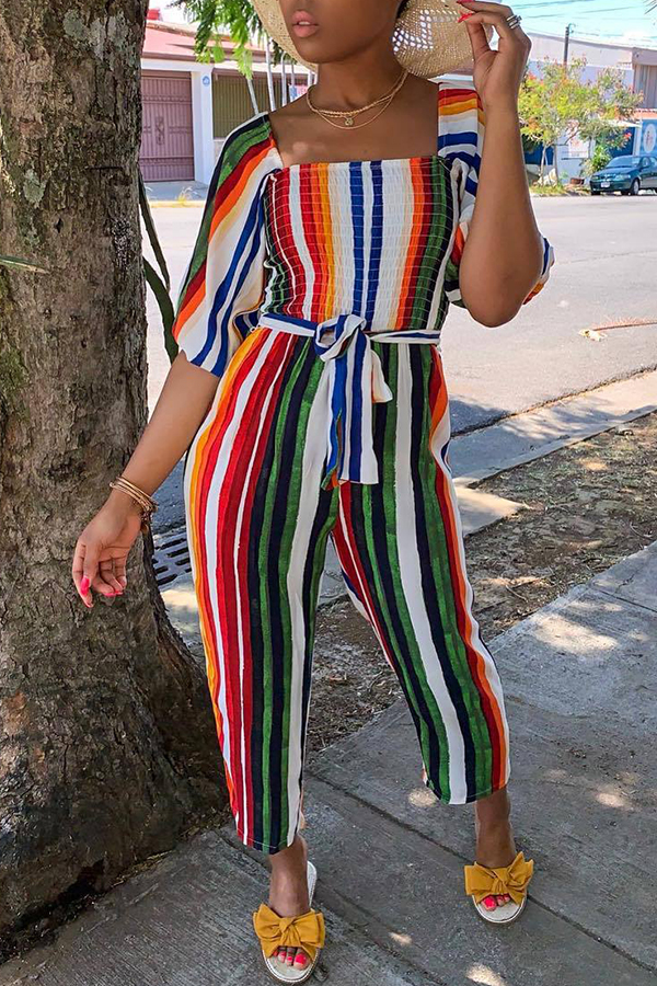 Lovely Sweet Striped Multicolor One-piece Jumpsuit