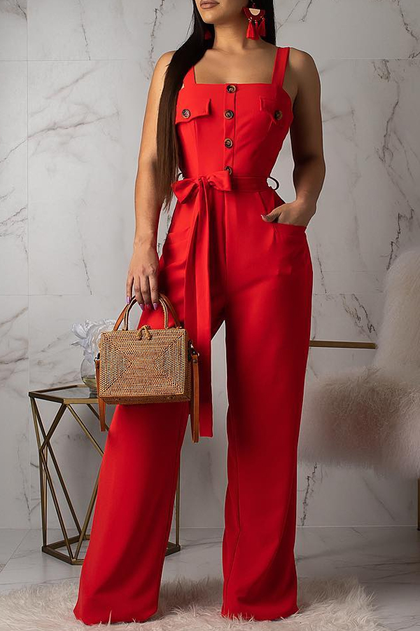 Lovely Casual Buttons Decorative Red One-piece Jumpsuit (With Belt)