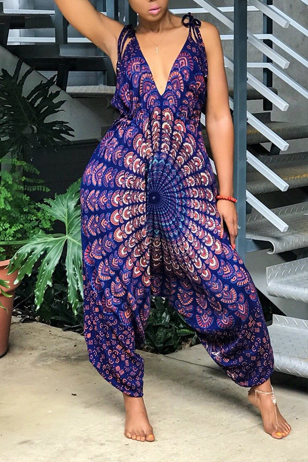 Lovely Ethnic Printed Loose Purple One-piece Jumpsuit