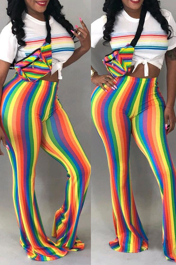Lovely Casual Striped Trumpet-shaped Multicolor Pants