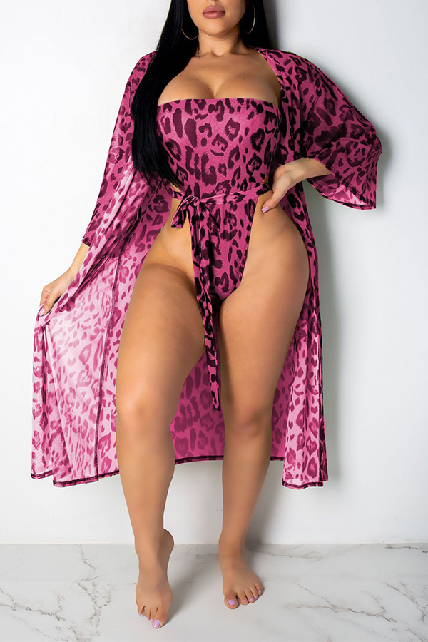 Lovely Sexy Printed Rose Red One-piece Swimwear (With Cover-up)