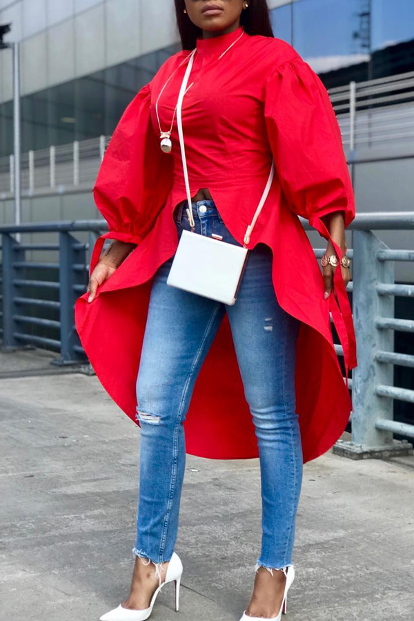 Lovely Casual After Short Before Long Red Blouses
