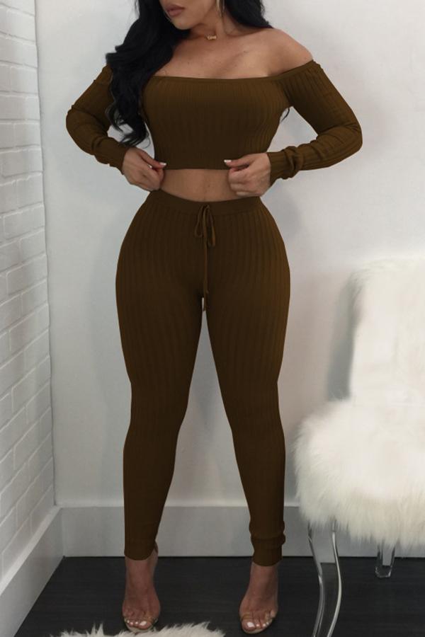 Lovely Trendy Dew Shouder Coffee Two-piece Pants Set