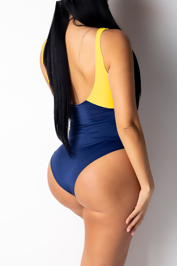 Lovely Sexy Letters Printed Yellow One-piece Swimwear