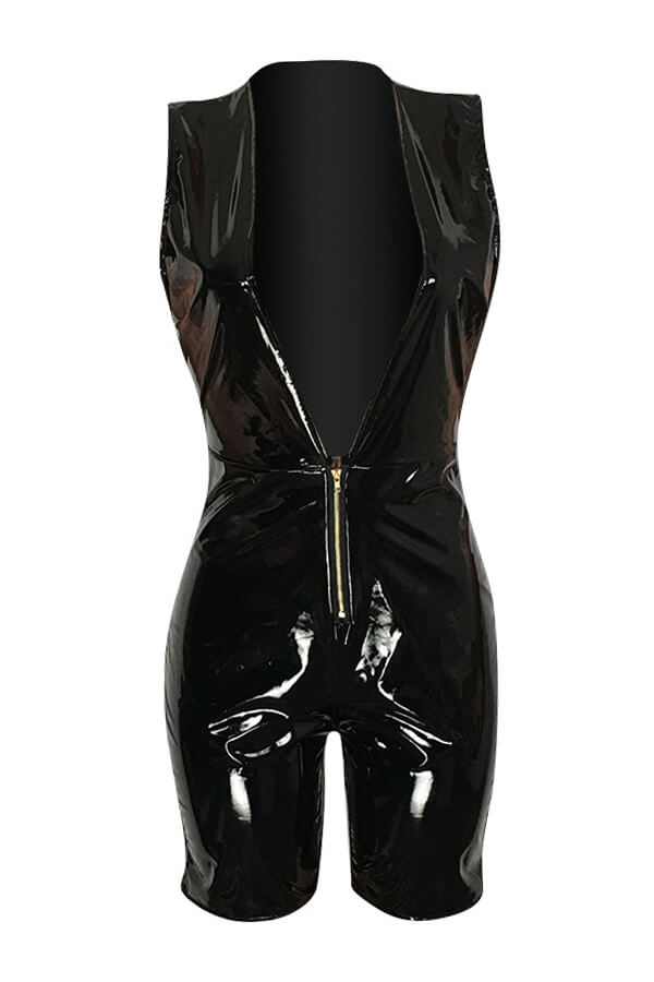 Lovely Sexy V Neck Black PU One-piece Rompers