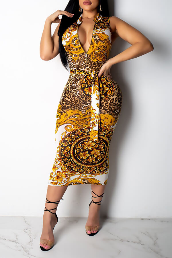 Lovely Sweet Printed Skinny Yellow Twilled Satin Mid Calf Dress
