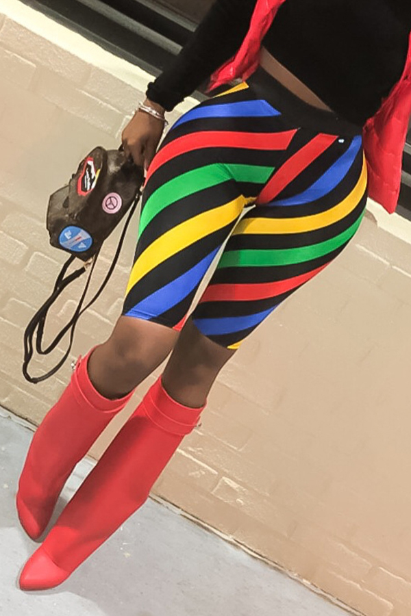 Lovely Casual Striped Multicolor Shorts