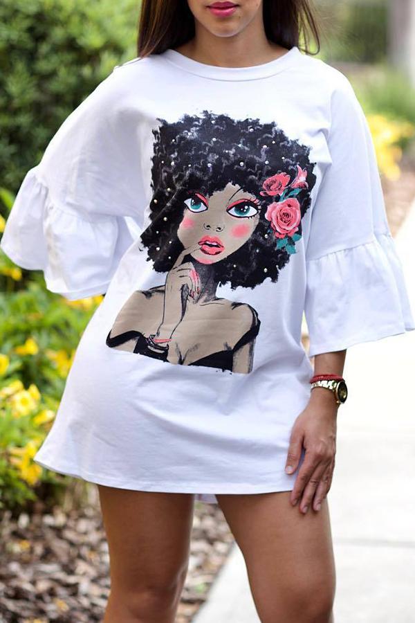 Lovely Sweet Portrait Printed White Mini T-shirt Dress