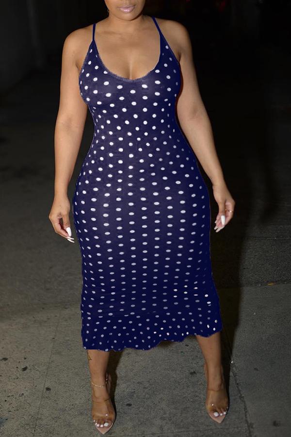 Lovely Sweet Dots Printed Dark Blue Trumpet Mermaid  Dress