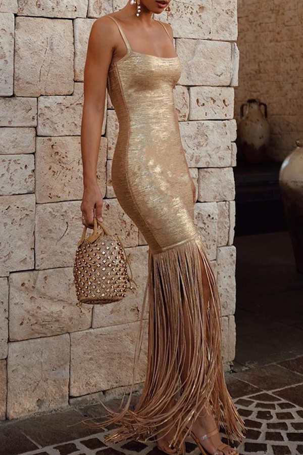 Lovely Elegant Tassel Design Gold Evening Gown  Dress