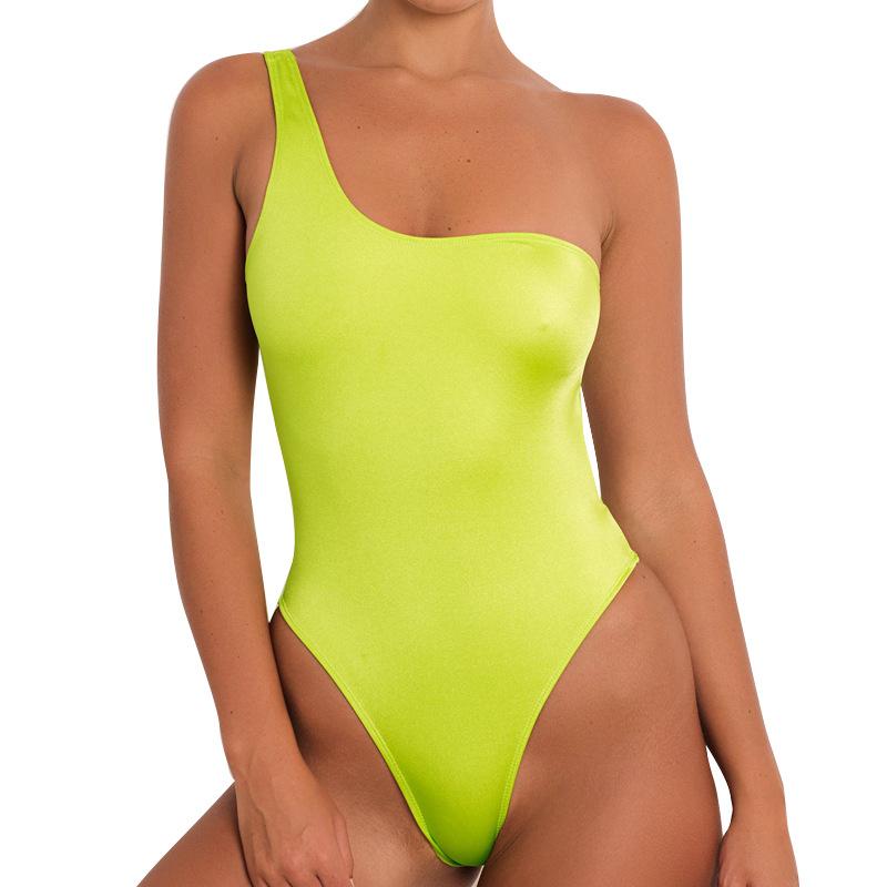 Lovely Sexy One Shoulder Yellow One-piece Swimwear