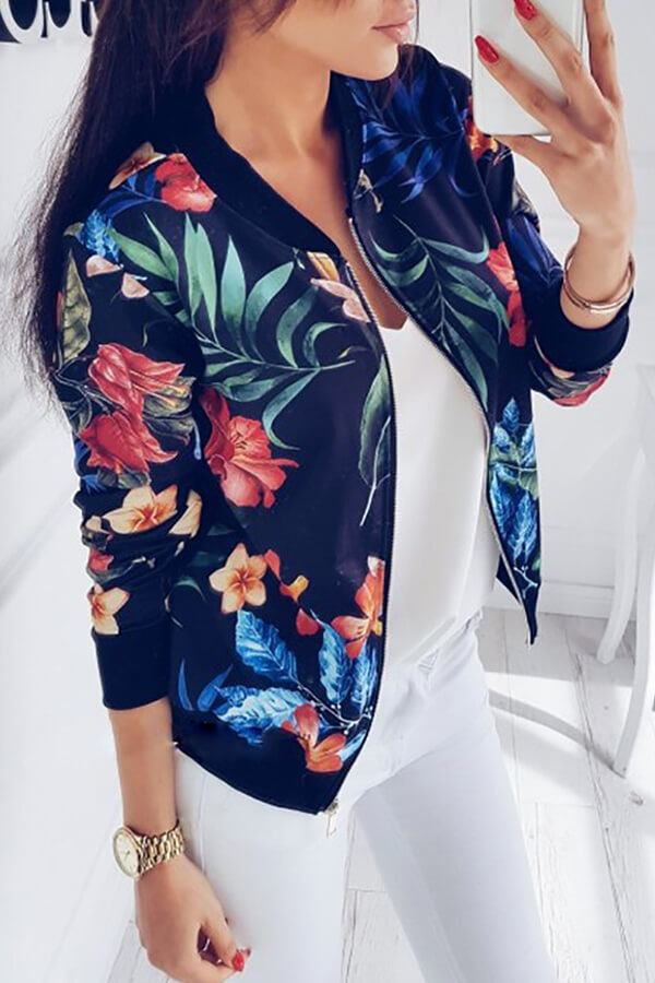Lovely Casual Floral Printed Navy Blue Lace Jacket