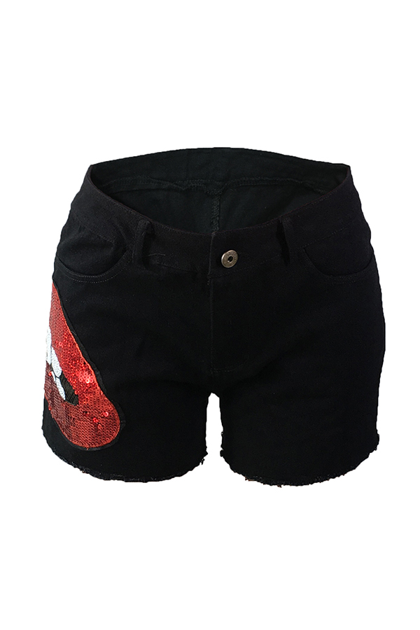 Lovely Casual Sequined Decorative Black Denim Shorts