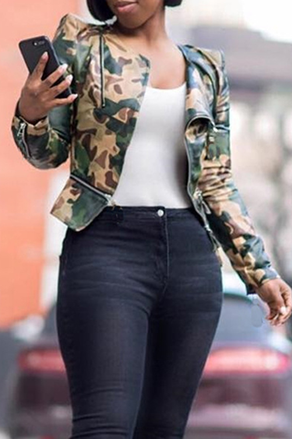 Lovely Casual Camouflage Printed PU Jacket