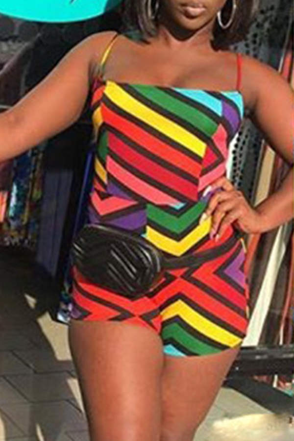 Lovely Bohemian Dew Shoulder Striped Multicolor One-piece Rompers
